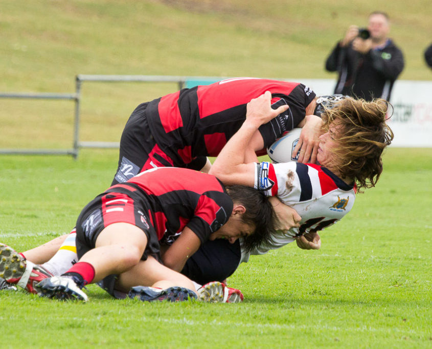 Captain Callan Burgess (top) & Nick Russell in defence - NSW Rugby League Junior Representative Competition - Harold Matthews Cup Competition [U16] Round 3 - Central Coast Roosters Vs North Sydney - Morie Breen Reserve - 25/02/2017 Photos by - Steve Little - www.redandblackzone.com