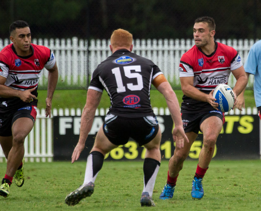 Bradley Deitz looks to Latrell Robinson for the pass - NSW Rugby League Senior Competition | Intrust Super Premiership [open age] Round 1 | Wentworthville Vs North Sydney | Braiden Burns (left) and Robert Jennings produced 16 points between them - NSW Rugby League Senior Competition | Intrust Super Premiership [open age] Round 1 | Wentworthville Vs North Sydney | Ringrose Park | 04/03/2017 Photos by | Steve Little | www.redandblackzone.com | 04/03/2017 Photos by | Steve Little | www.redandblackzone.com