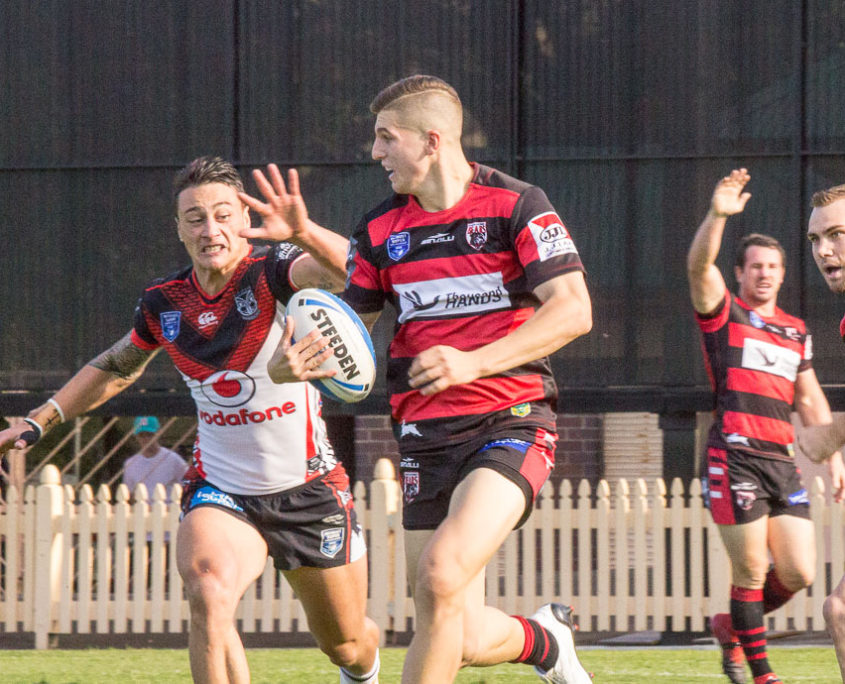 Image: An early break for Premiership debutant Adam Doueihi last week against the Warriors - Intrust Super Premiership | Round 8 | North Sydney Vs New Zealand | North Sydney Oval | 23/04/2017. Photo Steve Little www.redandblackzone.com.