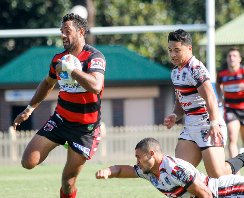 Dane Nielsen on his way to a try - Intrust Super Premiership - Round 6 - 2016 - North Sydney Bears V New Zealand Warriors