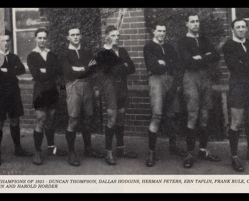 Image: Players from the Premiership winning North Sydney side of the early 1920s.