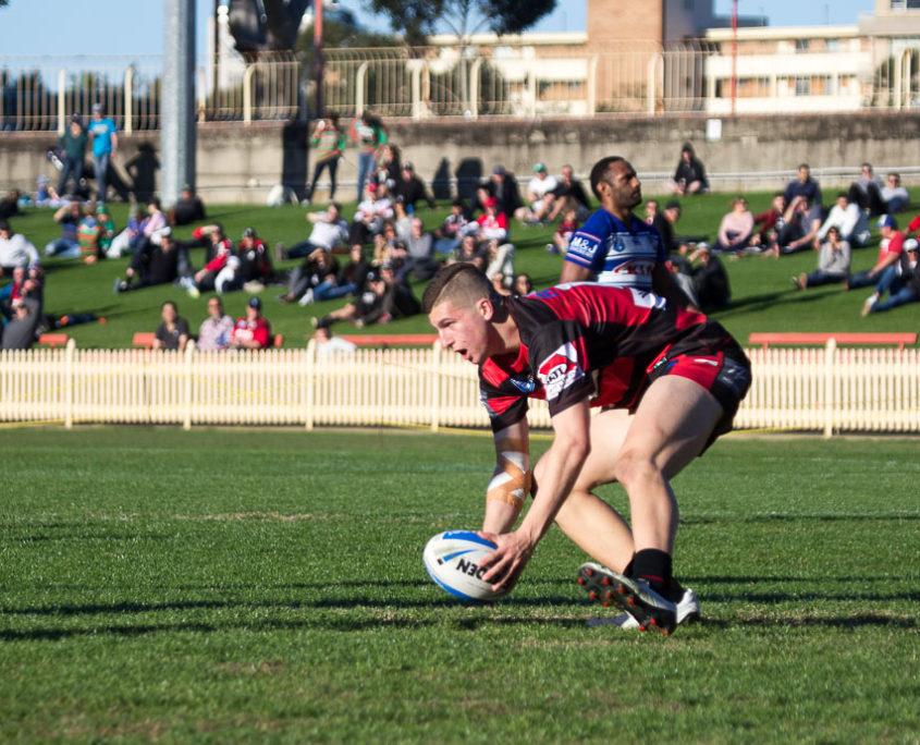 Image: A big crowd on the hill as Adam Doueihi scores - Intrust Super Premiership | Round 16 | North Sydney Vs Canterbury-Bankstown | North Sydney Oval | 25/06/2017. Photo Steve Little www.redandblackzone.com.