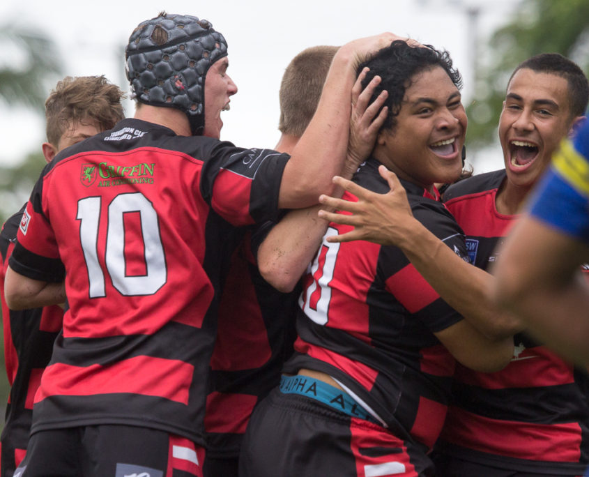 Image: Try celebration for Saupo Aigamaua - Harold Matthews Cup | Round 6 | North Sydney Vs Parramatta | TG Milner Field | 19/02/2017 | Photos by | Steve Little | www.redandblackzone.com