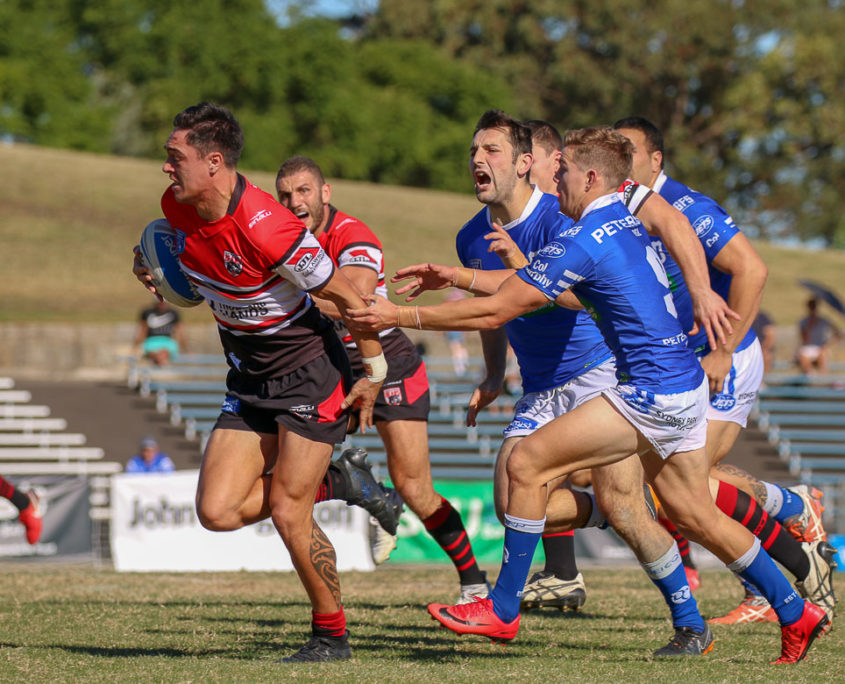 Image: Mawene Hiroti on his way to a try - Frank Hyde Shield | Intrust Super Premiership | Newtown Vs North Sydney. Photo Steve Little.